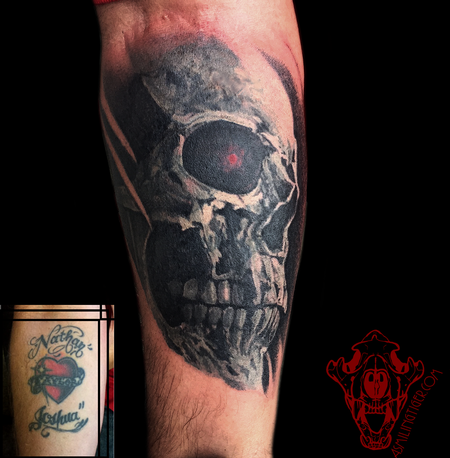 tattoos/ - Painterly Skull Coverup - 122159