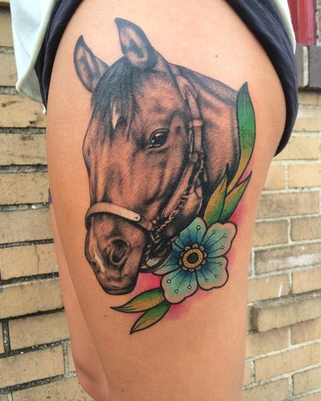 tattoos/ - Horse with flower - 122154