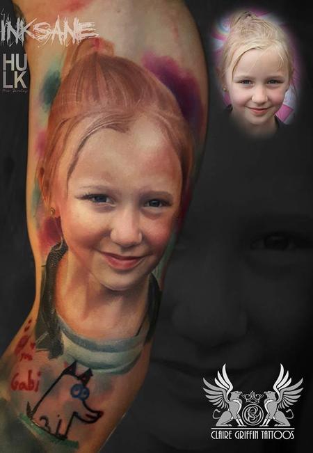tattoos/ - Little girl Colour Portrait Tattoo - 125681