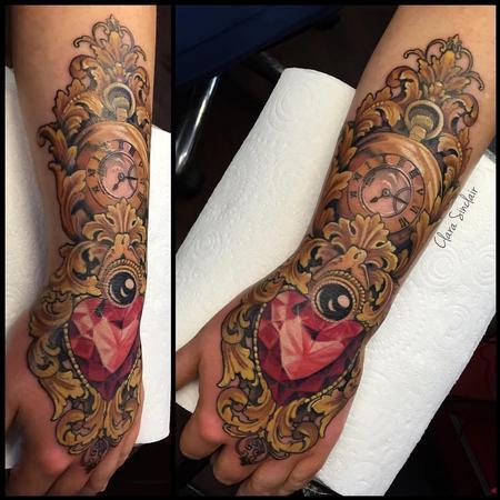 tattoos/ - Ornamental Pocket watch and Heart Gem Stone - 125466