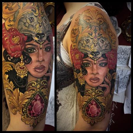 tattoos/ - Woman with Wolf Head Dress - 125467