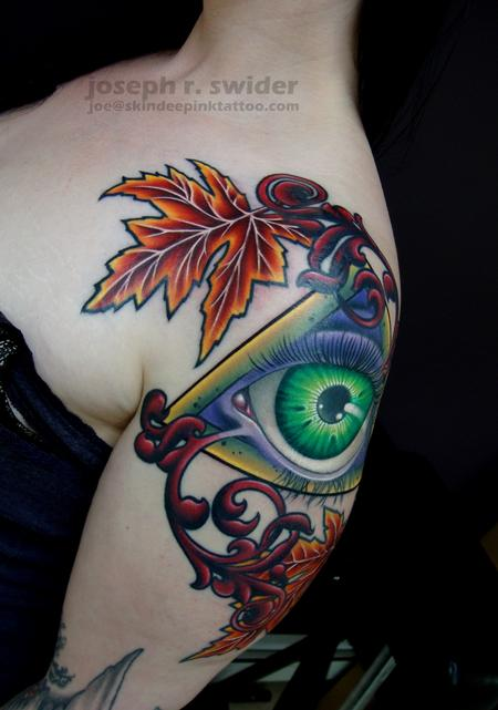 tattoos/ - All seeing eye with leaves - 103803