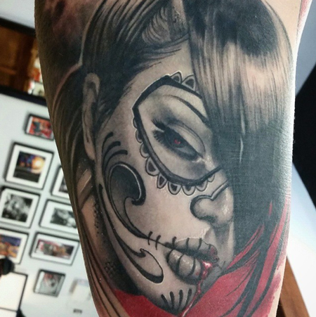 tattoos/ - Day of the Dead Sugar Skull Girl - 100278