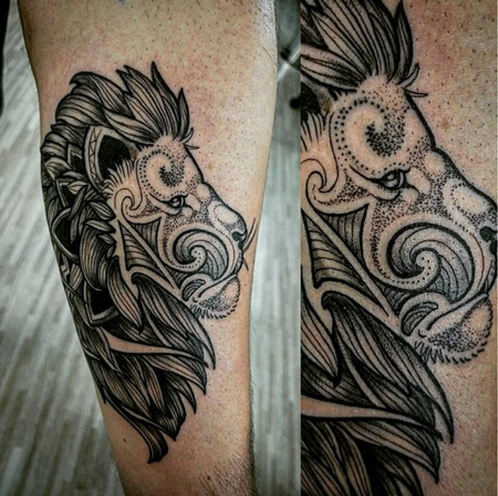 tattoos/ - Dotwork Lion - 114476