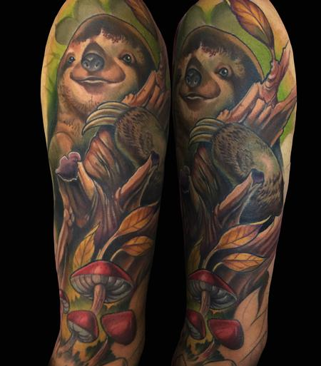 tattoos/ - new school colorful sloth tattoo - 141758