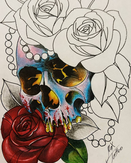 Art Galleries - Skull and Roses - 114743