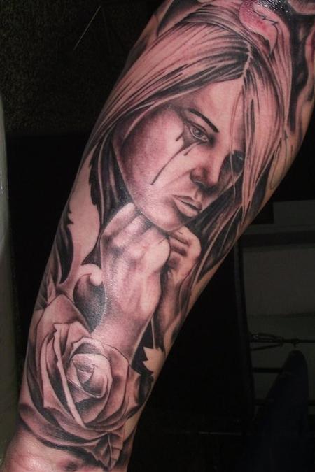 tattoos/ - Black and Grey Girl Tattoo - 61752