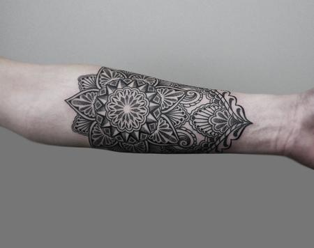 tattoos/ - dotwork linework bongo style forearm tattoo - 126272