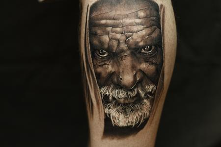 tattoos/ - Black and grey portrait tattoo of an older man. - 106452