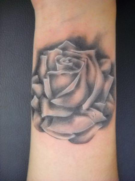 tattoos/ - Black and Gray Rose Tattoo - 61316