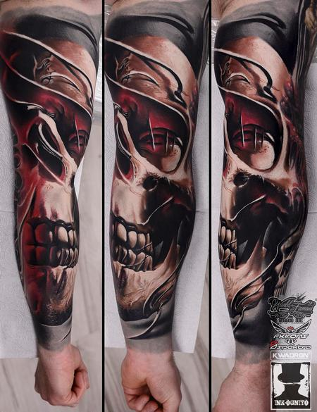 tattoos/ - Skull Mask Color Arm Tattoo - 116181