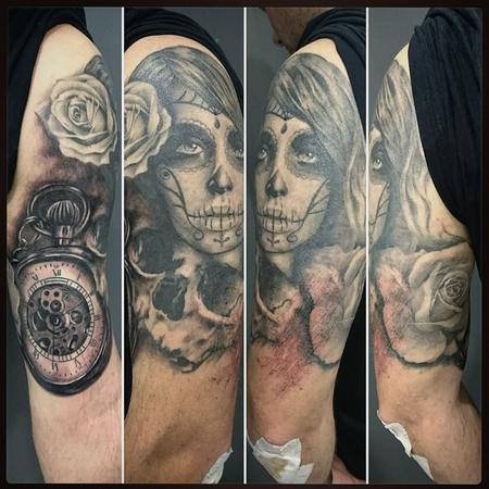 tattoos/ - Black and Grey Realism Half Sleeve - 116386