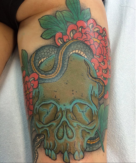 tattoos/ - Skul, Snake and Flowers - 124848