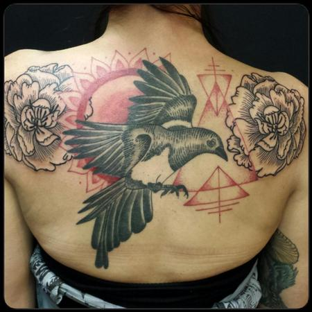 tattoos/ - Magpie and peonies - 114814