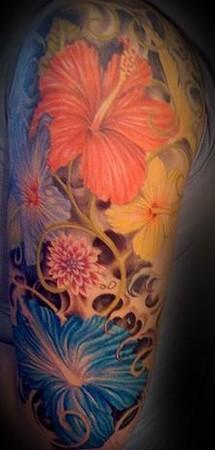 tattoos/ - flower half sleeve tattoo - 46247
