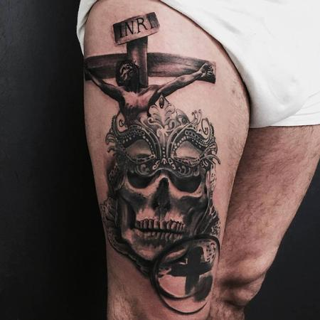 tattoos/ - Crucifix and Adorned Skull - 116649