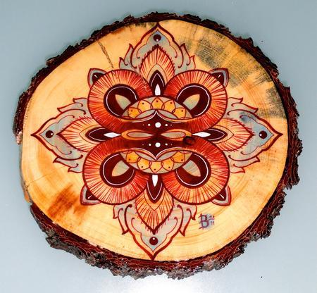 Art Galleries - mandala on wood - 65399