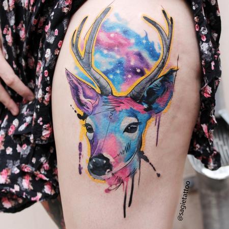 tattoos/ - Water color deer - 116597