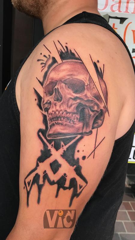 tattoos/ - Black and gray skull guns  - 132966