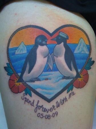 tattoos/ - Heart Penguins - 49309