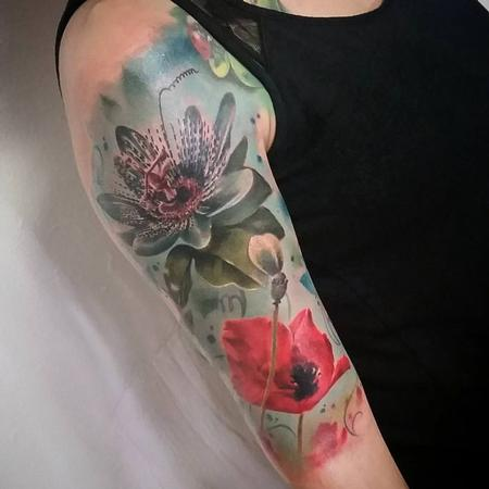 tattoos/ - Flowers Realistic, color, half sleeve, poppy, lily realism, yorick tattoo - 130904