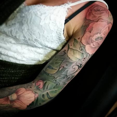 tattoos/ - Color flowers, lush jungle, fern sleeve, art nouveau, neo traditional Yorick Tattoo - 130907