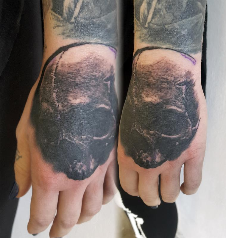 Tattoos By Alan Aldred Tattoos Evil Skull Hand Tattoo