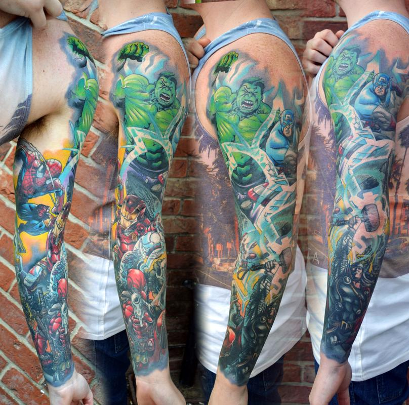 Marvel comic sleeve tattoo by alan aldred tattoos for Marvel comics tattoos