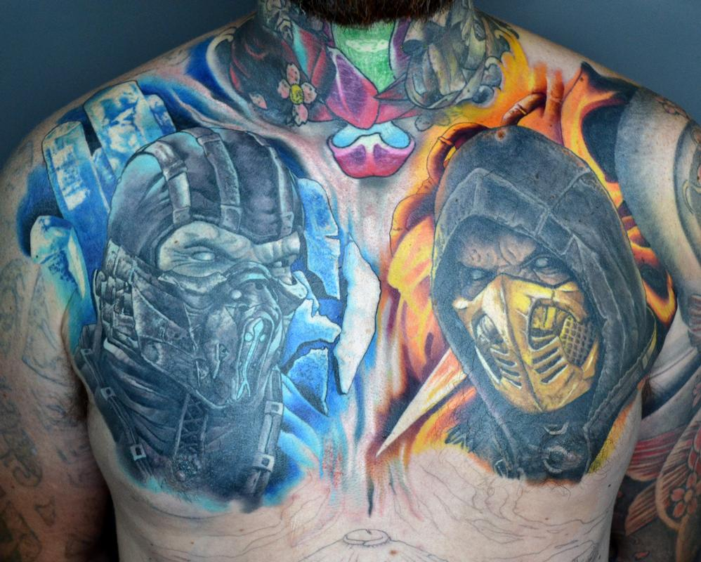 Tattoos By Alan Aldred Tattoos Skull Mortal Kombat Chest Tattoo