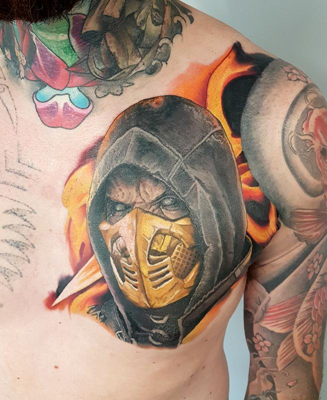 Tattoos By Alan Aldred Tattoos Back And Chest Scoprion Mortal Kombat Chest Piece