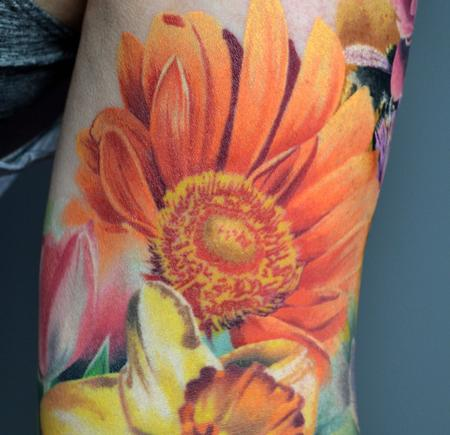tattoos/ - Healed Close Up Floral Sleeve  - 142941