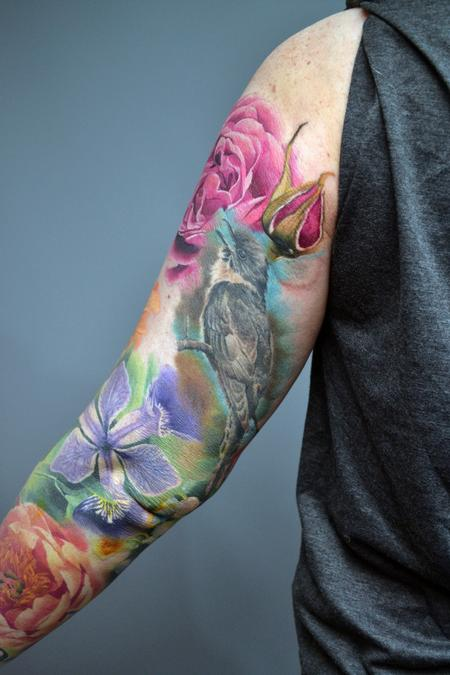 tattoos/ - Work In Progress Nature Floral Sleeve Tattoo - 142943