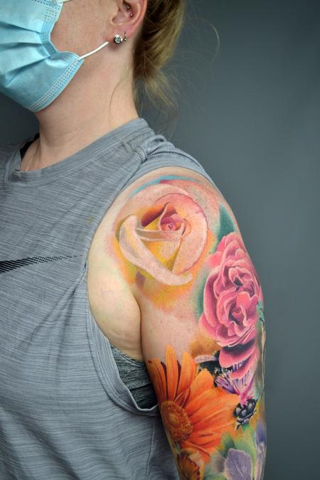 tattoos/ - Nature Floral Sleeve In Progress - 142942