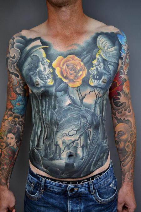 tattoos/ - Cemetery Torso Colour Tattoo - 139946
