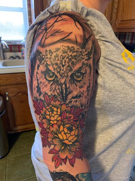 tattoos/ - Owl and peony - 142298