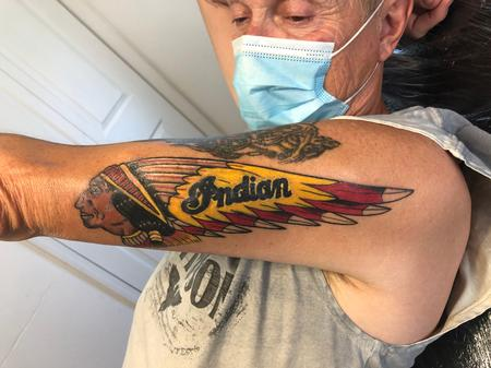 tattoos/ - Indian Motorcycle Logo 10 days into healing - 142221