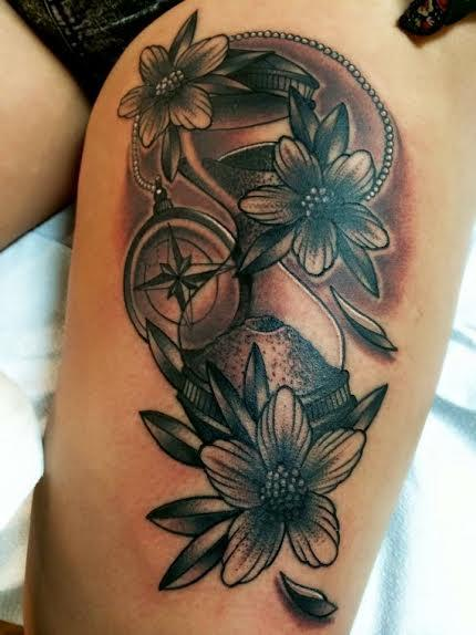 tattoos/ - Black and Gray traditional compass with flowers tattoo. Frichard Adams Art Junkies Tattoo  - 108786