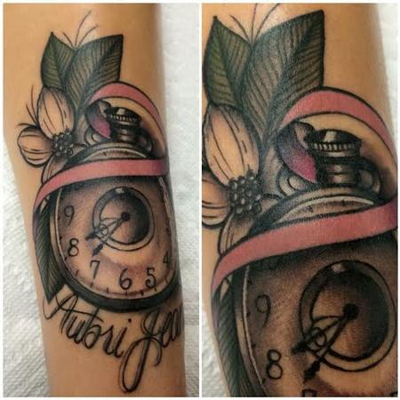 tattoos/ - Traditional color pocket watch with banner tattoo. Frichard Adams Art Junkies Tattoo.  - 108828