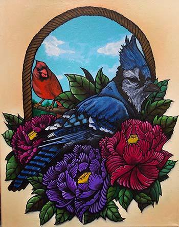 Art Galleries - Bluejay and peonys - 84313