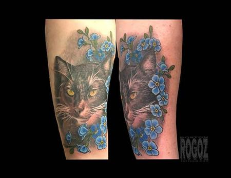 tattoos/ - Cat with flowers - 139464