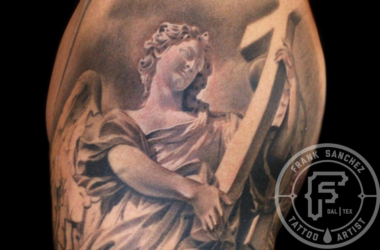 43440acbb4b85 Frank Sanchez : Tattoos : Body Part Arm Sleeve : Angel Statue