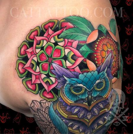 tattoos/ - Floral Geometry and Crystal Owl - 143372