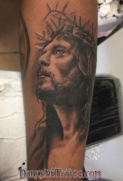 tattoos/ - Black and Gray Jesus Tattoo - 130053
