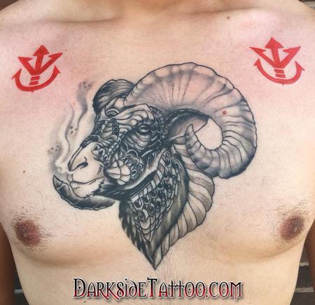 tattoos/ - Black and Gray Ram Tattoo - 133952