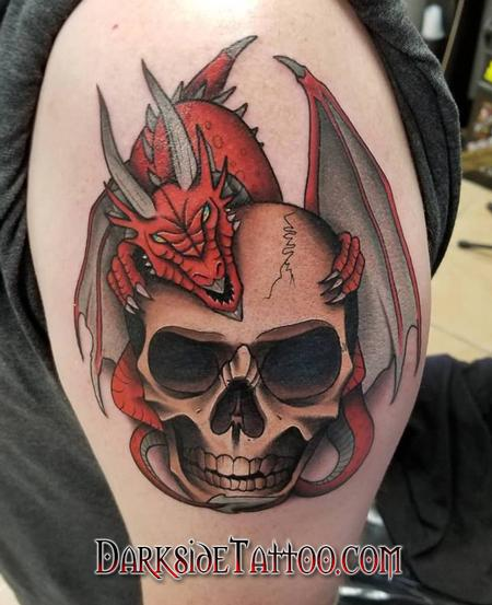 tattoos/ - Color Skull and Dragon Tattoo - 133950