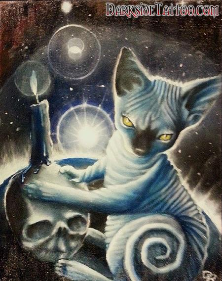 Art Galleries - Color oil painting of Dave's Cat Anubis - 88740