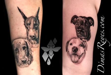 tattoos/ - Black and Grey Realistic Dog Portraits - 142138