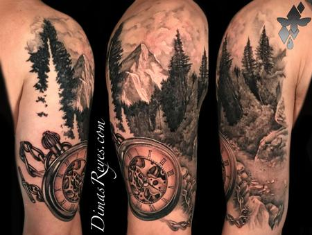 tattoos/ - Black and Grey Realistic Mountain Landscape & Pocketwatch Tattoo - 142140
