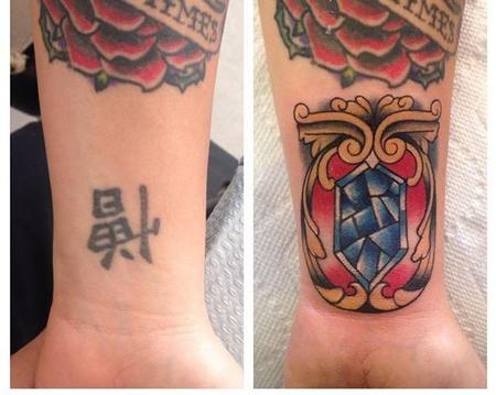 tattoos/ - Kanji Coverup with Traditional Gem - 109293