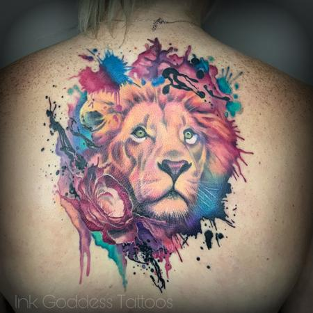 tattoos/ - Watercolor and Realism integrated Lion and Rose back piece - 140539